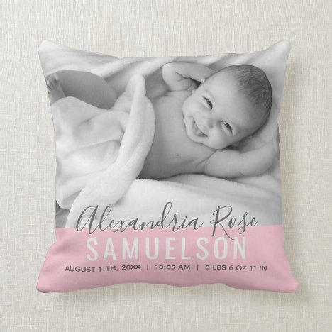 BABY Girl Pink Keepsake Name Birth Date PHOTO Throw Pillow