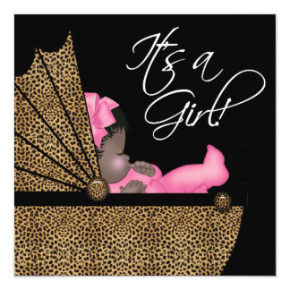 Baby Girl Pink Leopard Baby Shower Card