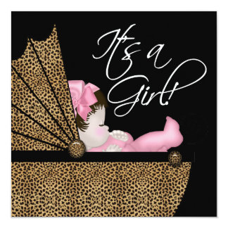 "Baby Girl Pink Leopard Baby Shower 5.25"" Square Invitation Card"