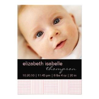 Baby Girl Pink Modern Photo Announcement