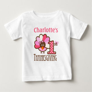 Baby Girl Pink My First Thanksgiving Shirt
