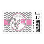 Baby Girl Pink Owl Chevron Print Baby Shower Postage