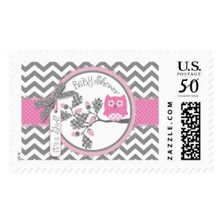 Baby Girl Pink Owl Chevron Print Baby Shower Postage