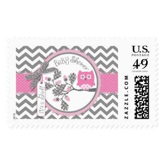 Baby Girl Pink Owl Chevron Print Baby Shower Stamp