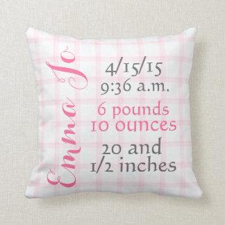 Baby Girl Pink Plaid Birth Pillow