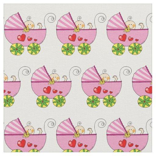 Baby girl pink pram nursery fabric zazzle for Baby girl fabric
