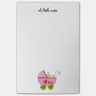 baby girl (pink pram) - nursery post-it notes