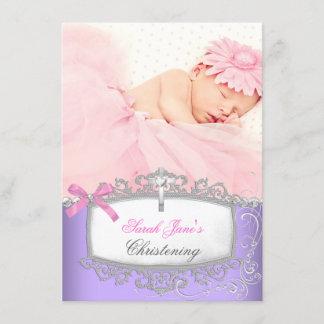Baby Girl Pink Purple Christening Baptism Cross Announcement