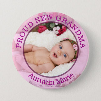 Baby Girl Pink Purple  Proud Grandma Button