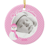Baby Girl Pink Snowman First Christmas Photo Ceramic Ornament