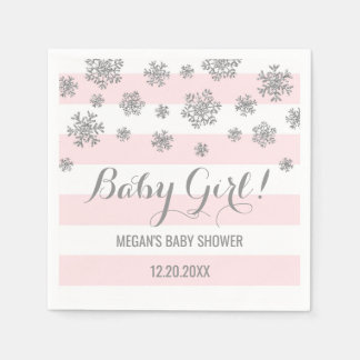 Baby Girl! Pink Stripes Silver Snow Baby Shower Paper Napkin