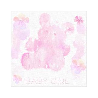 "Baby Girl Pink Teddy Bear 14"" x 11"", 1.5"" Canvas Print"