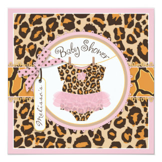 Baby Girl Pink Tutu Cheetah Print Baby Shower Card