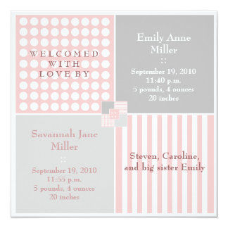 Baby Girl Pink Twin Modern Photo Announcement