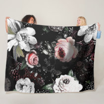 Baby Girl Pink White Black Victorian Rose Pattern Fleece Blanket