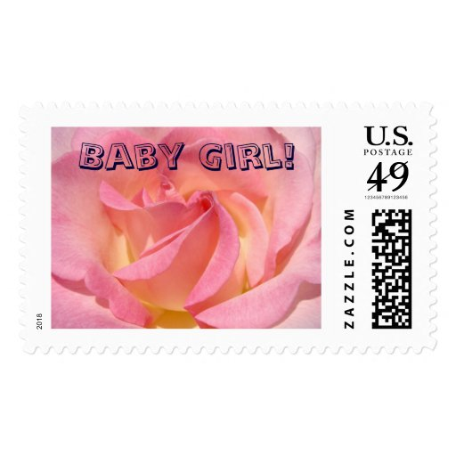 Baby Girl! postage stamps Pink Rose Invitations