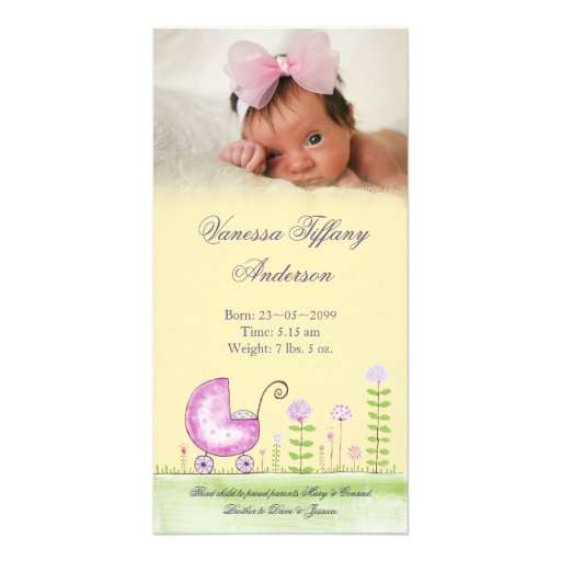 Baby Girl Pram Birth Announcement Photo Card