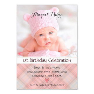 Baby Girl Pretty in Pink Plaid Birthday Card