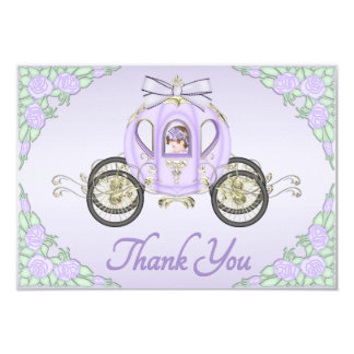 "Baby Girl Princess Coach and Roses Lilac Thank You 3.5"" X 5"" Invitation Card"
