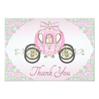 Baby Girl Princess Coach and Roses Pink Thank You 3.5x5 Paper Invitation Card
