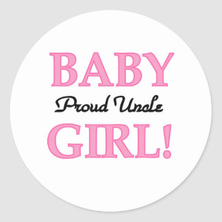 Baby Girl Proud Uncle Classic Round Sticker