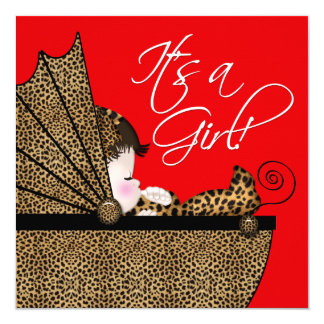 """Baby Girl Red Leopard Baby Shower Invitation 5.25"""" Square Invitation Card"""