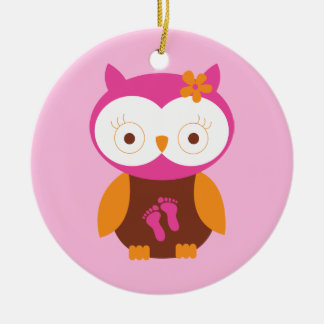 Baby Girl Retro Owl Pink Footprints Mom To Be Gift Ceramic Ornament