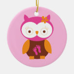 Baby Girl Retro Owl Pink Footprints Mom To Be Gift Double-Sided Ceramic Round Christmas Ornament
