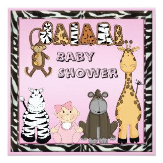 Baby Girl & Safari Animals Baby Shower Card