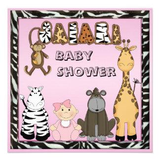 Baby Girl Safari Animals Baby Shower Announcement