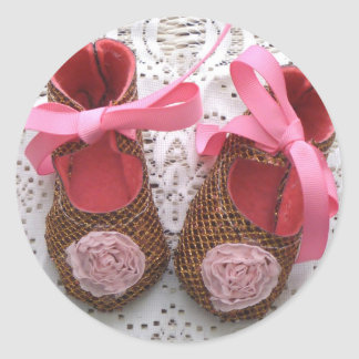 Baby Girl Shoes Classic Round Sticker