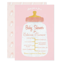 Baby Girl Shower Baby Bottle Invitation