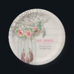"""Baby Girl Shower BOHO Floral Dream Catcher Feather Paper Plate<br><div class=""""desc"""">Having a baby girl? Celebrate her coming with this bold, modern, boho Bohemian woodsy style baby shower paper party set, customized for your mother-to-be. Hand painted, loose, painterly roses with baby&#39;s breath decorate a macrame dream catcher decorated with driftwood, leather fringe and feathers! Customized with the typography text &quot;Baby Shower...</div>"""