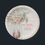 "Baby Girl Shower BOHO Floral Dream Catcher Feather Paper Plate<br><div class=""desc"">Having a baby girl? Celebrate her coming with this bold, modern, boho Bohemian woodsy style baby shower paper party set, customized for your mother-to-be. Hand painted, loose, painterly roses with baby&#39;s breath decorate a macrame dream catcher decorated with driftwood, leather fringe and feathers! Customized with the typography text &quot;Baby Shower...</div>"