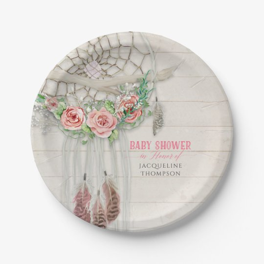Baby Girl Shower BOHO Floral Dream Catcher Feather Paper Plate  sc 1 st  Zazzle & Baby Girl Shower BOHO Floral Dream Catcher Feather Paper Plate ...
