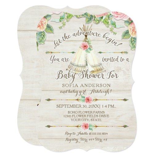 Baby Girl Shower BOHO Teepee Arrow Barn Wood Board Card