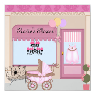 Baby GIRL Shower Boutique Invitation