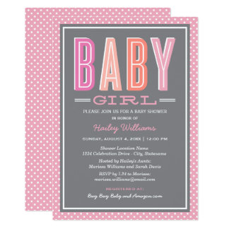 Baby Girl Shower | Chic Type in Pink and Gray Card