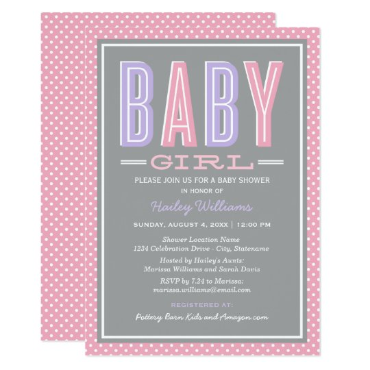 Baby Girl Shower | Chic Type in Pink and Purple Card