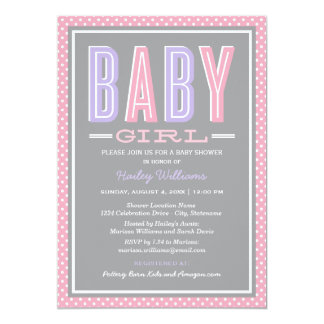 Baby Girl Shower | Chic Type in Pink and Purple 5x7 Paper Invitation Card