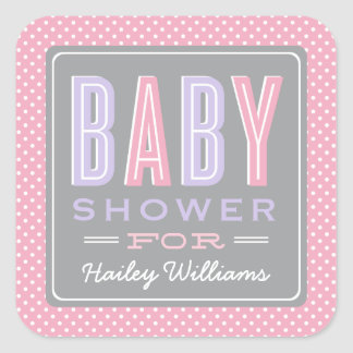 Baby Girl Shower | Chic Type in Pink and Purple Square Sticker