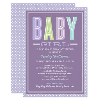 Baby Girl Shower | Chic Type in Purple Card