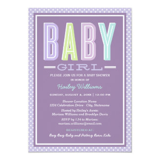 Baby Girl Shower | Chic Type in Purple 5x7 Paper Invitation Card