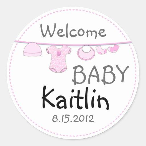 Baby Girl Shower Clothes Line Round Sticker