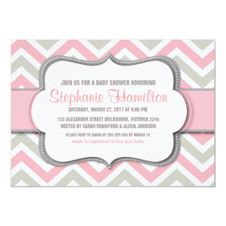 Baby girl shower colorful chevron card