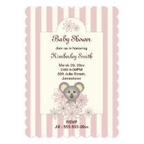 Baby Girl Shower Cute Animal Pink Invitations