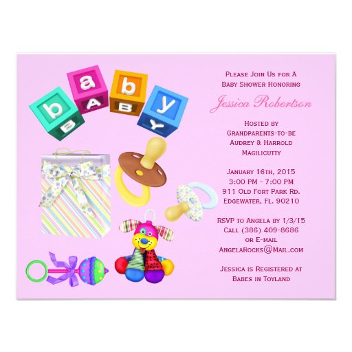 baby girl shower cute baby items with gifts custom invitation