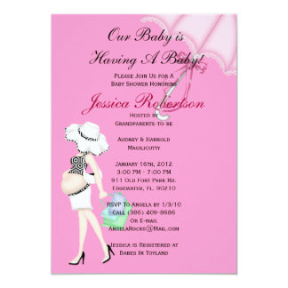 Baby Girl Shower, Cute Baby Umbrella with Gifts, Custom Invites