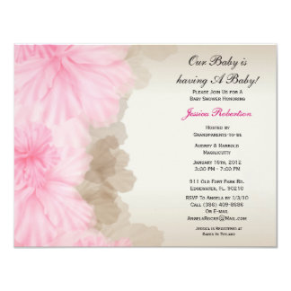"""Baby Girl Shower, Cute Pink, 4.25"""" X 5.5"""" Invitation Card"""