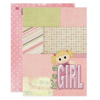 Baby Girl Shower-doll on quilt design Card
